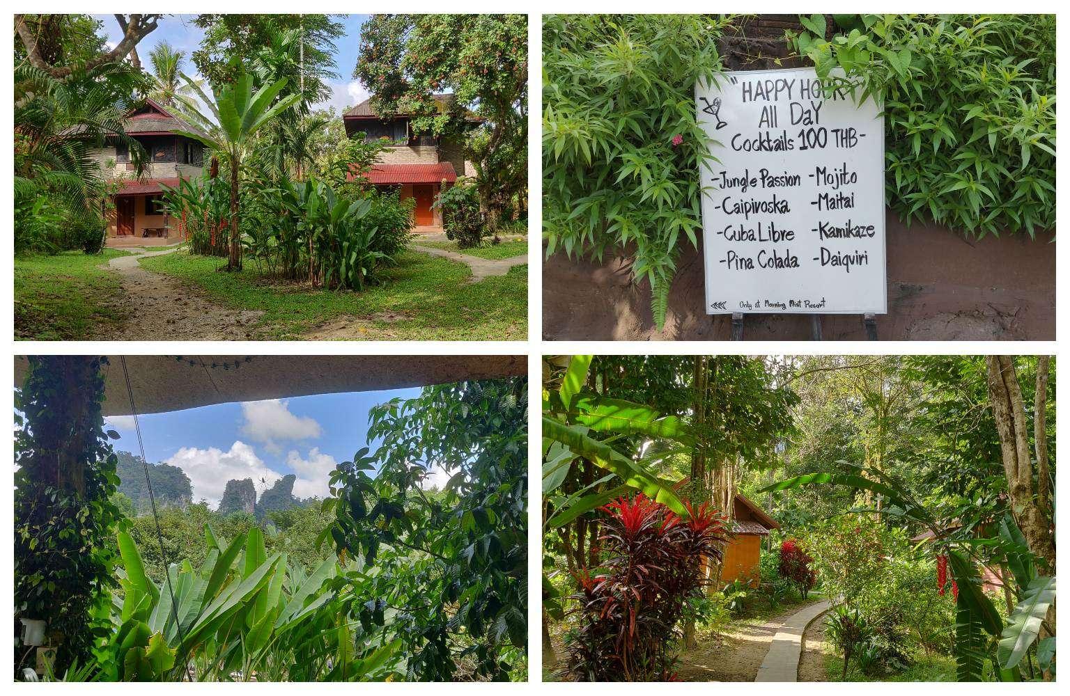 Sfeerimpressie van het Morning Mist Resort in Khao Sok, Thailand. De tropische Tuin met prachtige planten, een bord met daarop happy hour all day (cocktails 100 Baht), het uitzicht op de bergen van Khao Sok en twee bungalows