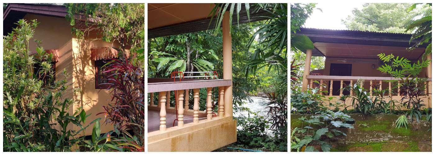 Collage van de buitenkant van de duurste kamer van het Morning Mist Resort in Khao Sok, Thailand