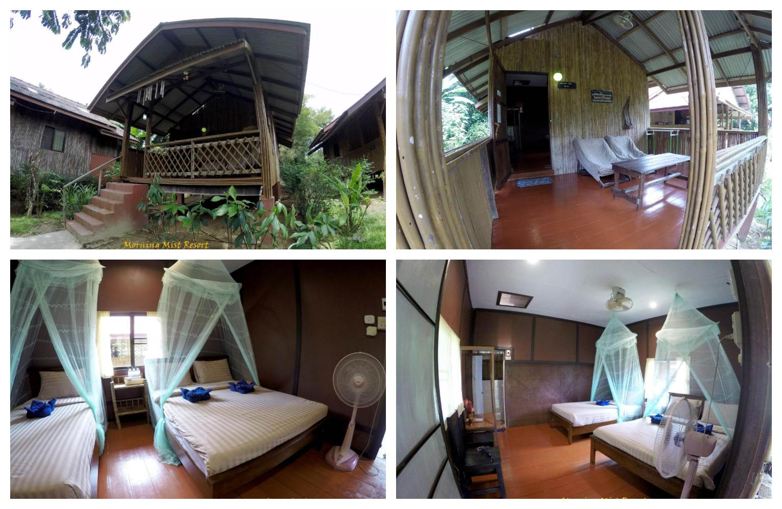 Collage van de slaapkamer in het Morning Mist Resort in Khao Sok, Thailand