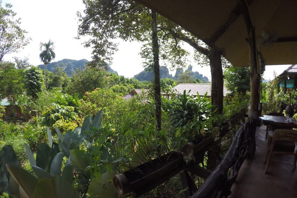 The views of the surroundings such as the tropical garden from the Misty Restaurant of the Khao Sok Morning Mist Resort.