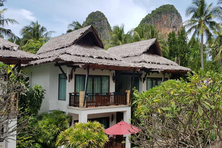 View of the cliffs of Krabi Raily from the pool view room of the Railay Village Resort & Spa