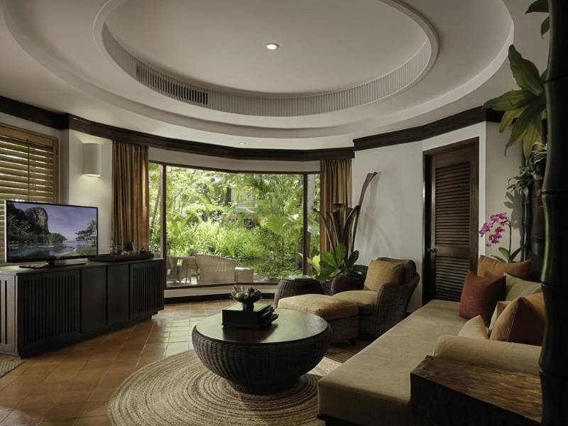 The living room of a bungalow of Rayavadee