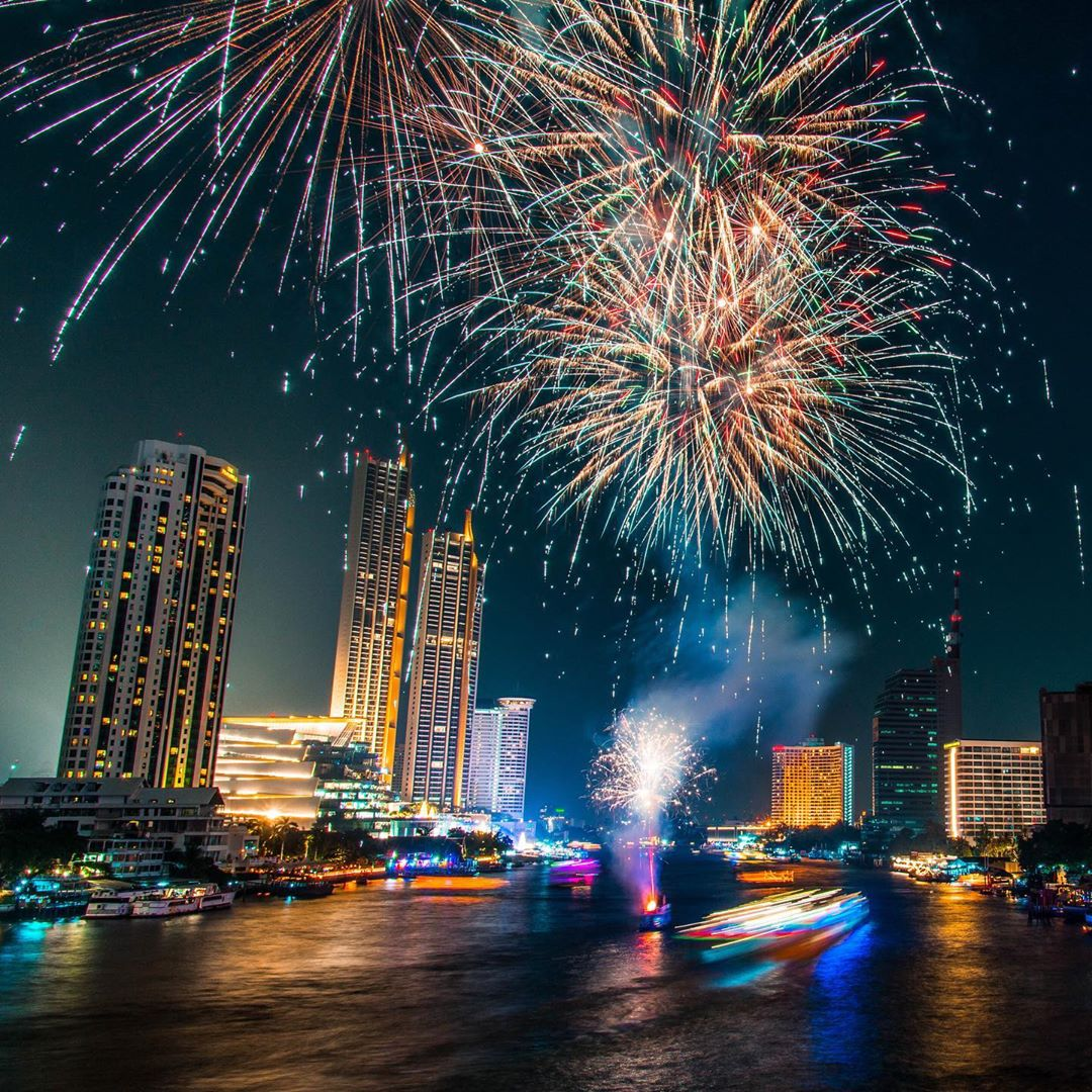 Fireworks over the Chao Phraya River during Loy Krathong 2019