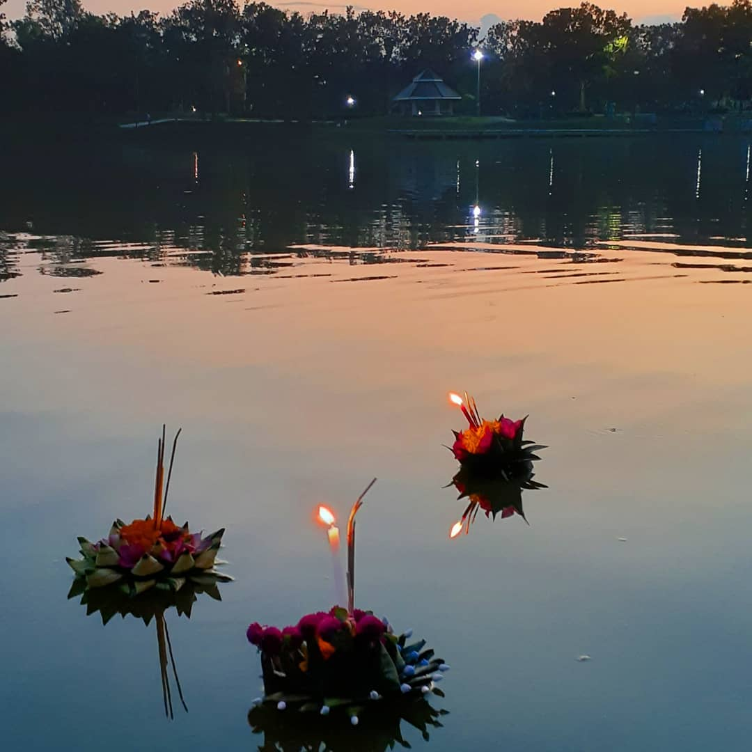 Floating Krathongs during Loy Krathong 2019