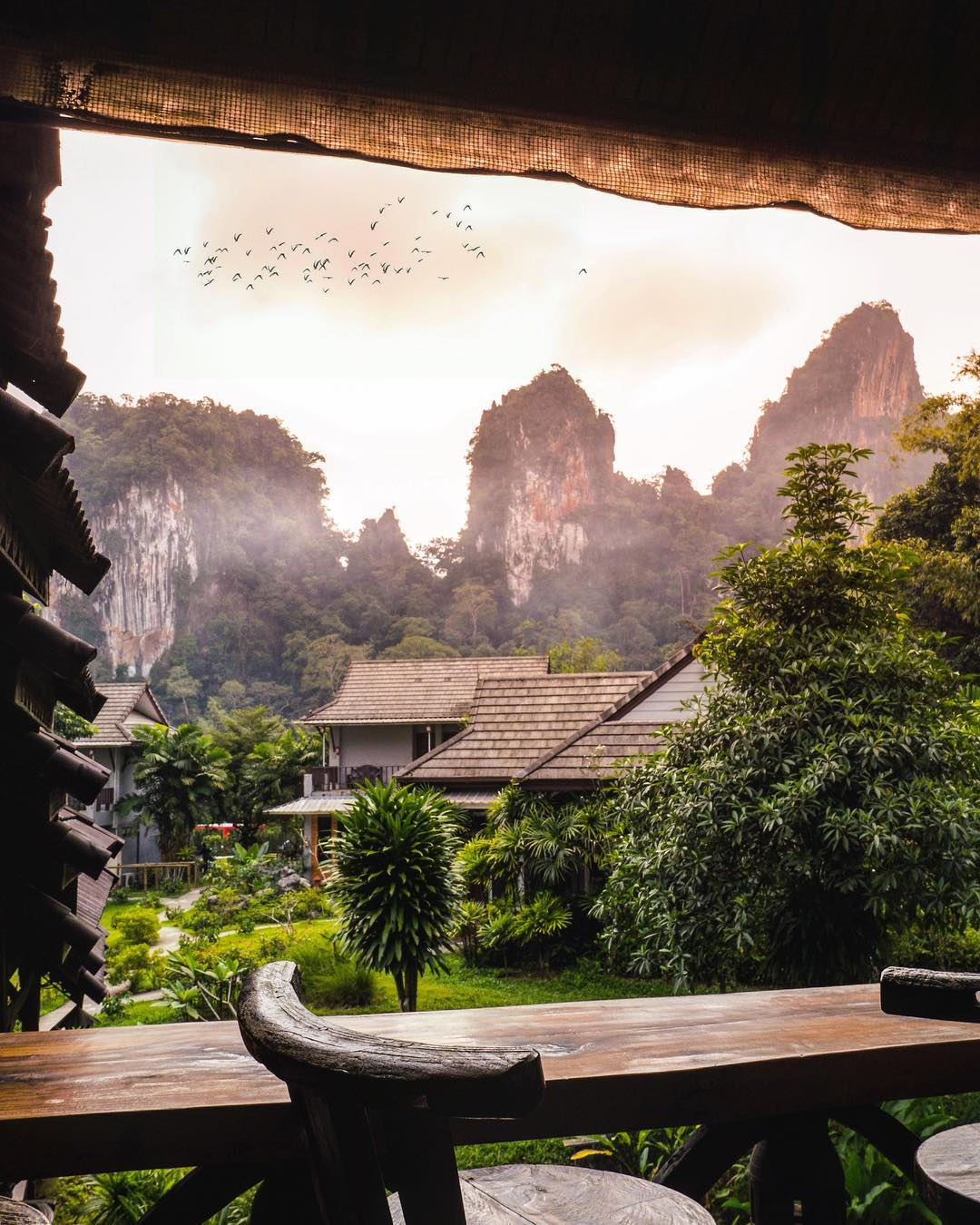 View from Montania Lifestyle Hotel of the limestone cliffs of Khao Sok National Park