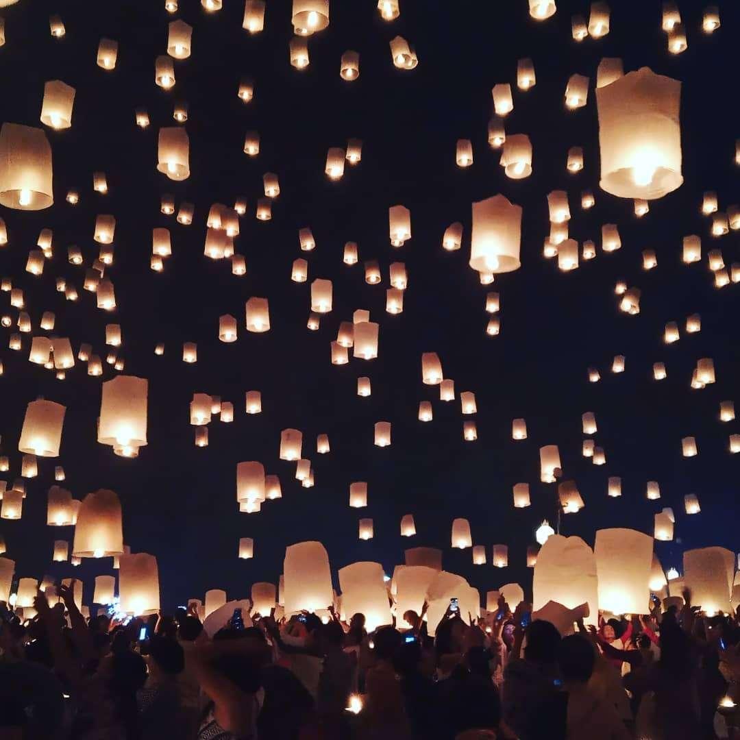 Mensenmassa tijdes het Yee Peng Festival 2019