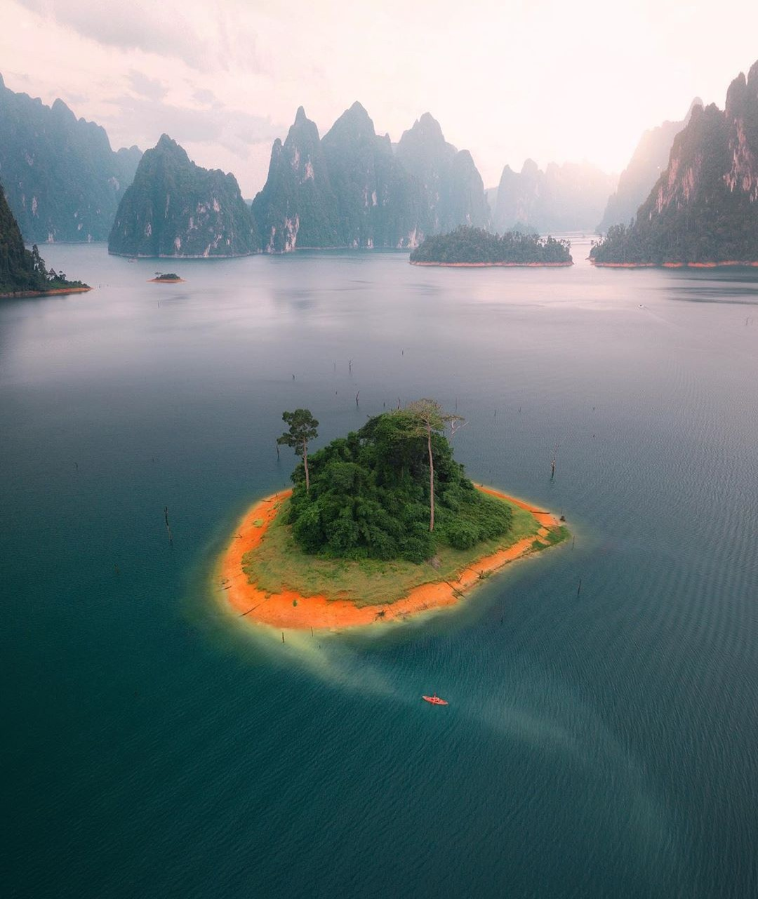Small island in the middle of Cheow Lan Lake with a drone photographed