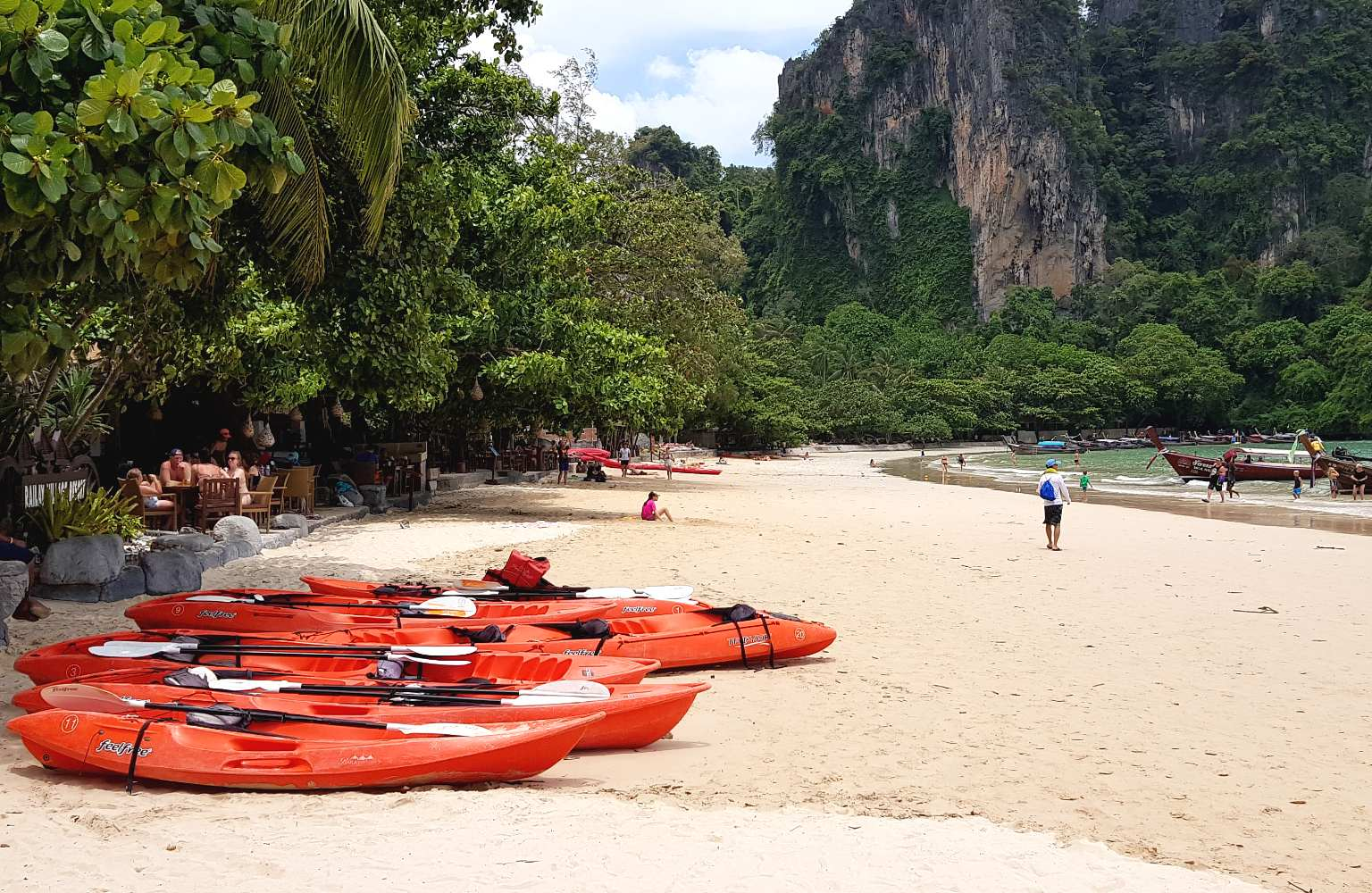 Kayaks on the beach of Railay West, Krabi