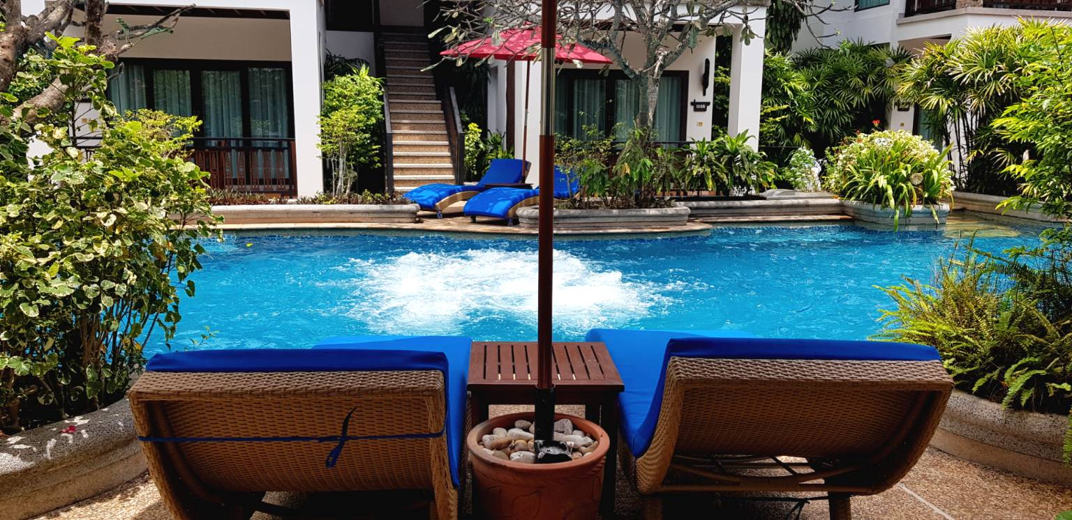 Sun loungers by the pool, Railay Village Resort, Krabi