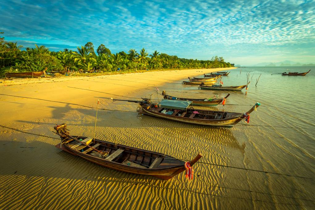 Koh Yao Yai, longtail boats on the beach