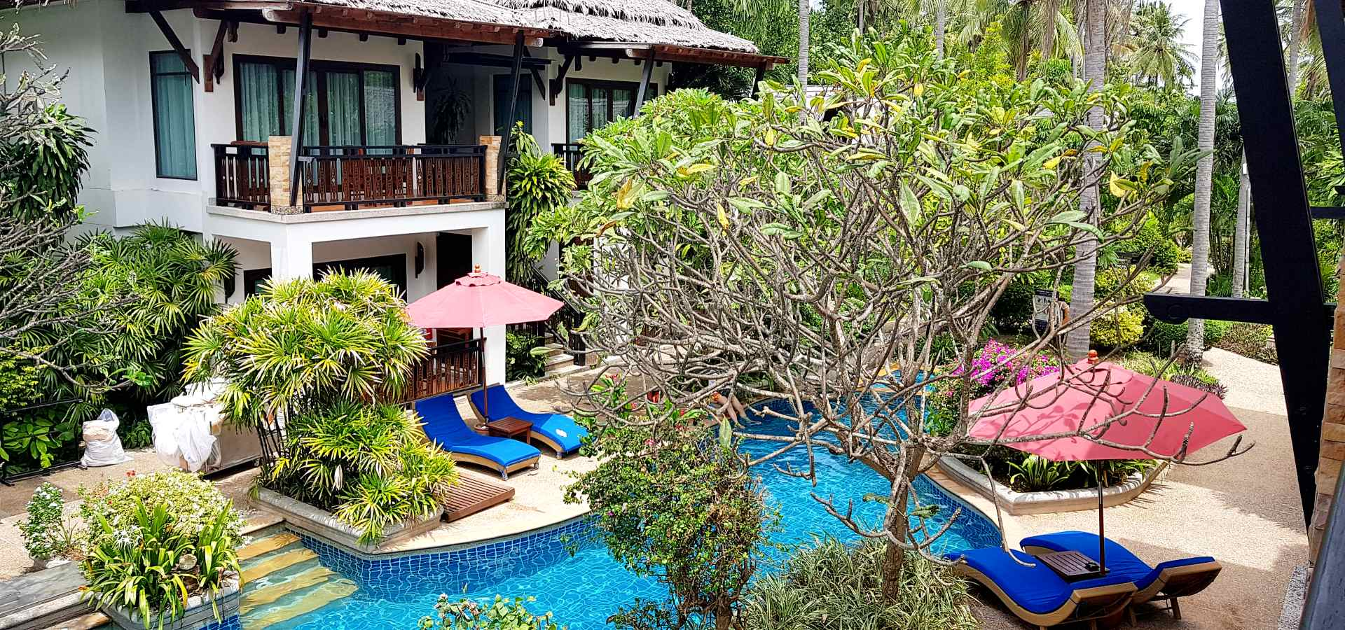 Swimming pool with trees and sunbeds, Railay Village Resort