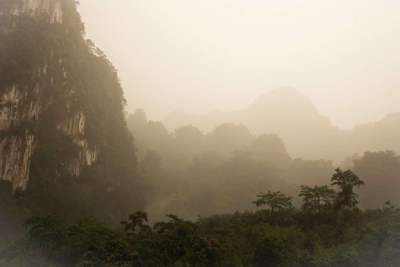 Bergen in de mist van het Khao Sok National Park