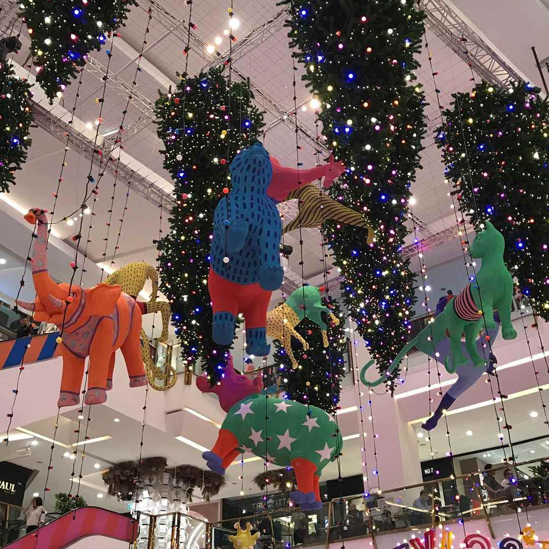 Strange coloured animals in Christmas theme