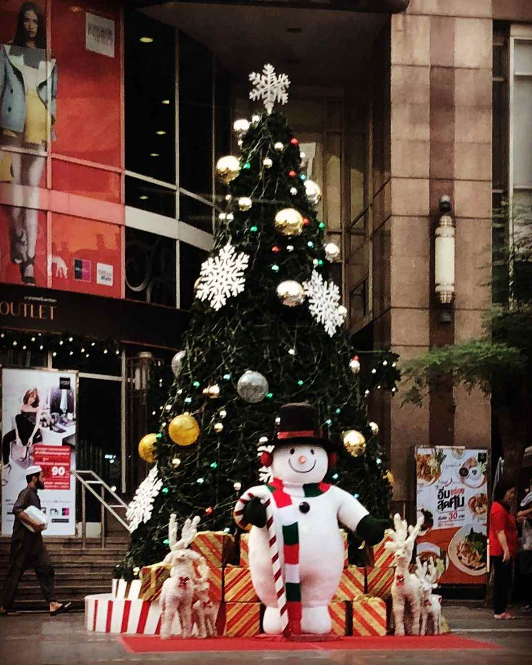 Christmas tree with inflatable snowman
