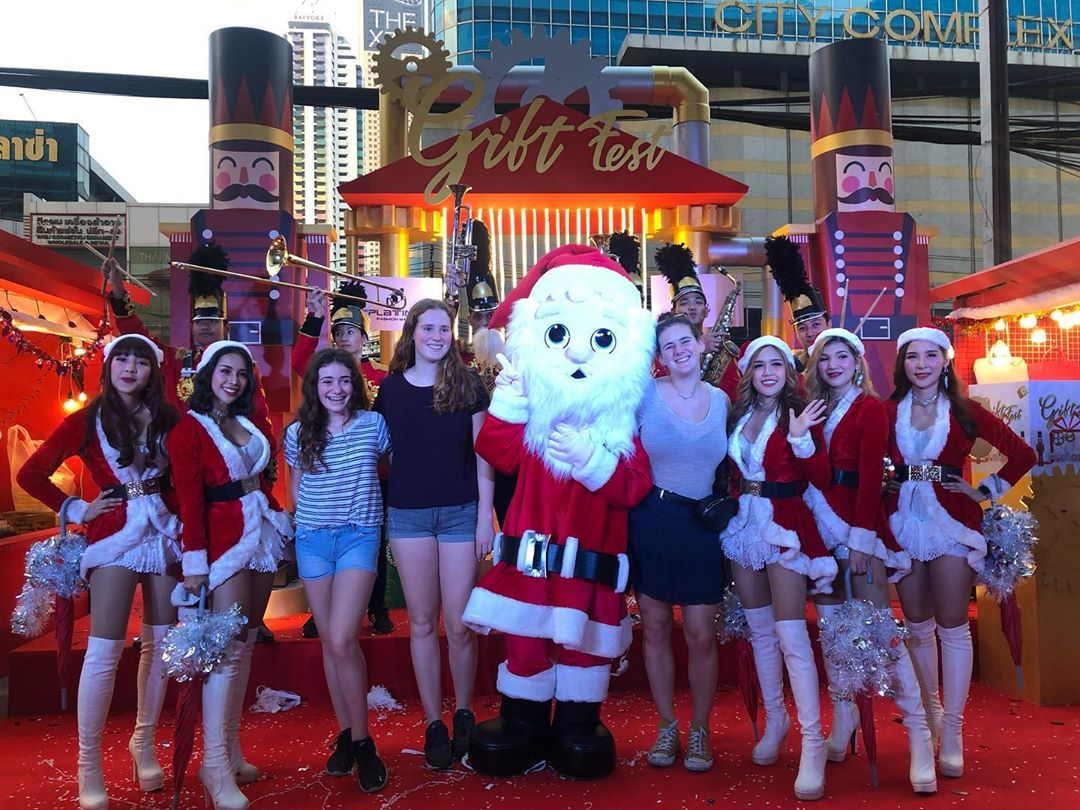 Santa Claus with Christmas baubles at Gift Fest The Platinum Fashion Mall in Bangkok