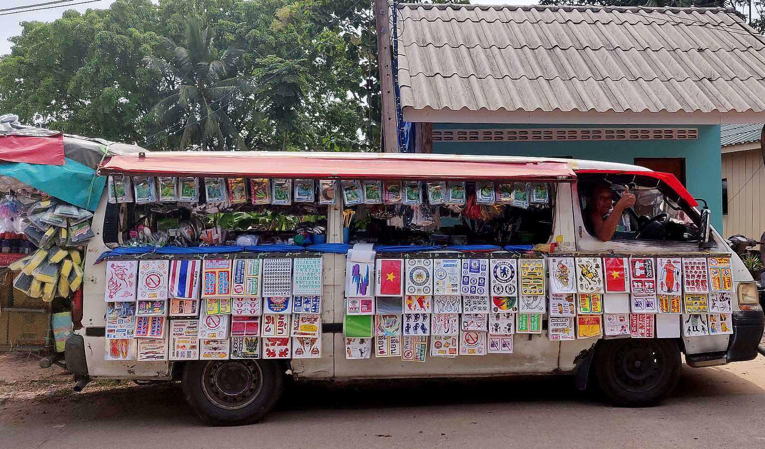 The ten baht Bus full of stuff for 10 baht