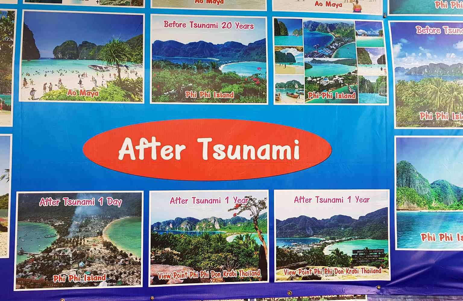 Tsunami foto's van Phi Phi eilanden