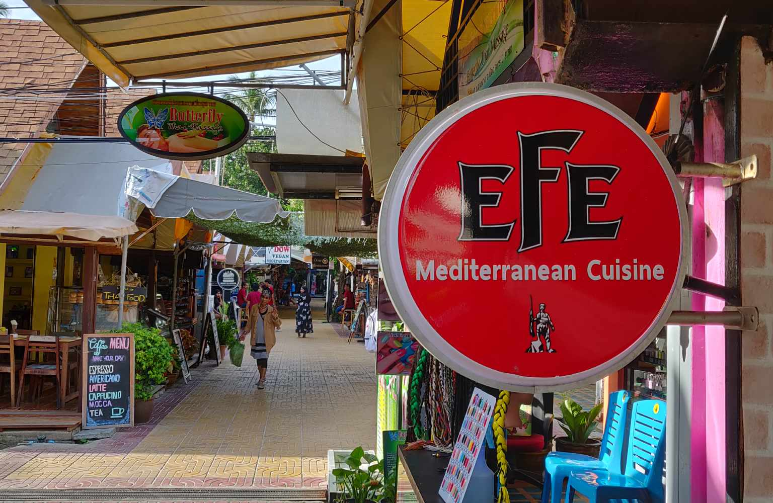 The street where Efe Mediterranean Cuisine is located on Koh Phi Phi