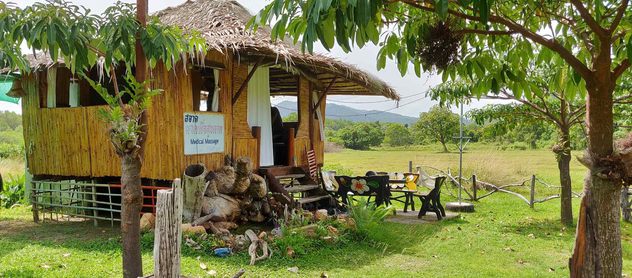Bamboo hut on poles of Dr. Saad blind massage on Koh Yao Yai