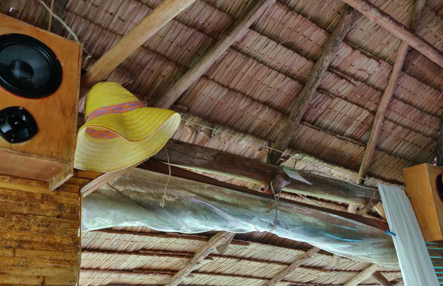 Loud music from the speakers at Dr Saad Medical Massage in Koh Yao Yai, Thailand.