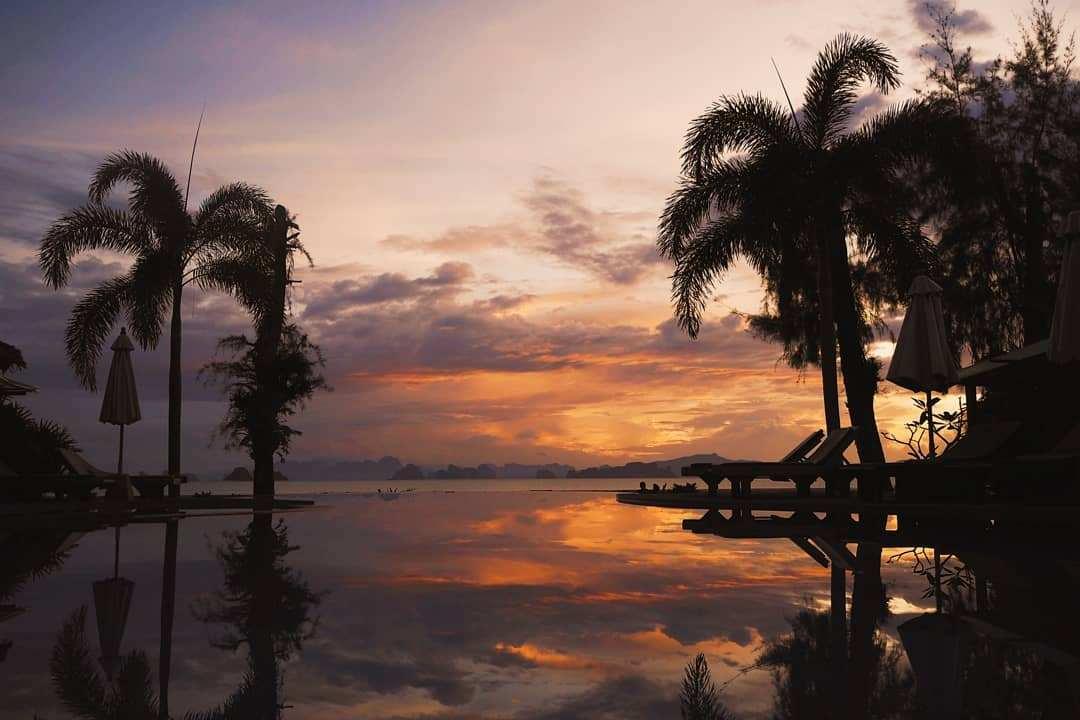 Sunset from an infinity pool on Koh Yao Yai