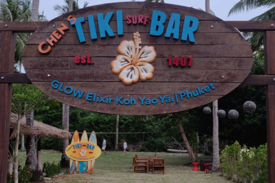 The sign of the Chen's Tiki Bar by GLOW Elixir
