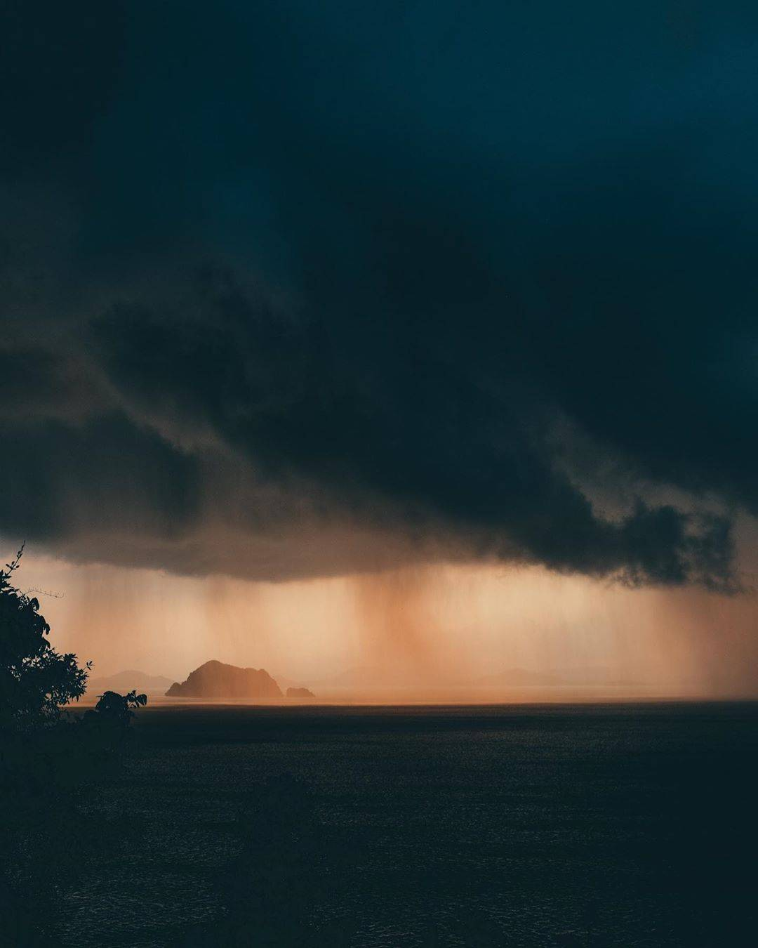 Heavy rainstorm seen from Koh Yao Yai