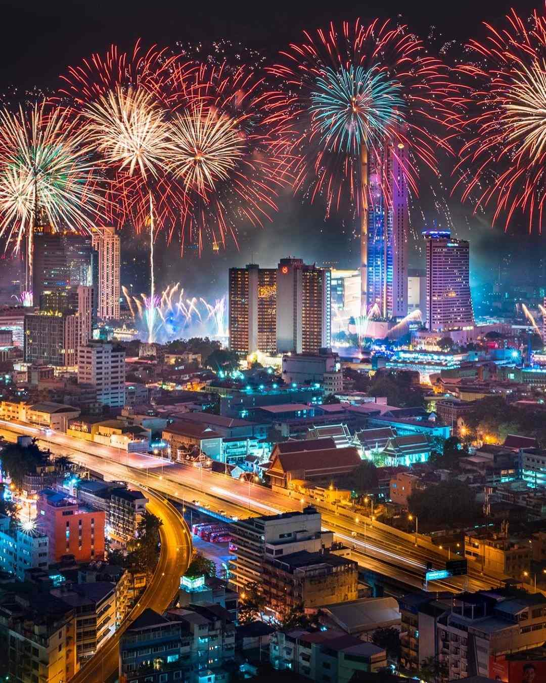 Fireworks over Bangkok old & new 2019