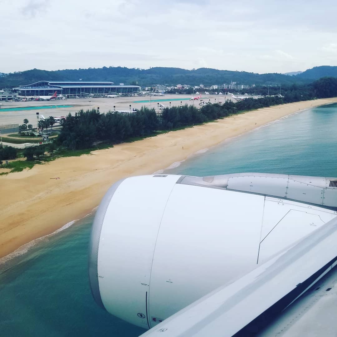 On the plane overlooking Phuket International Airport in Thailand