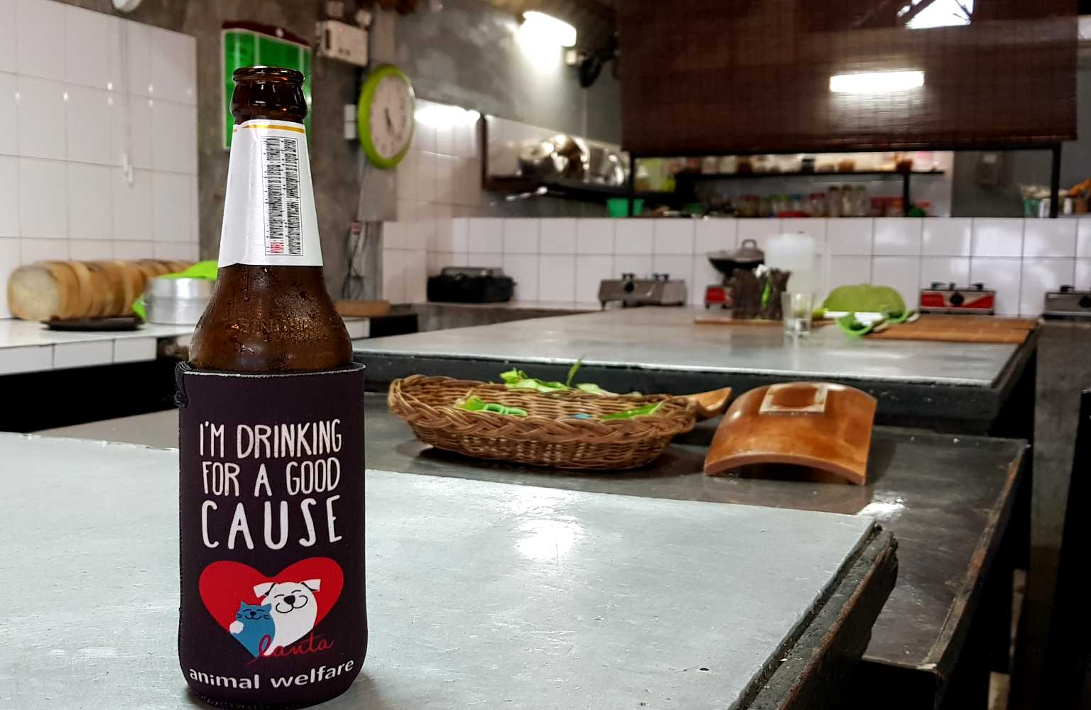 Bottle of beer, cooking and drinking for charity at Time for Lime