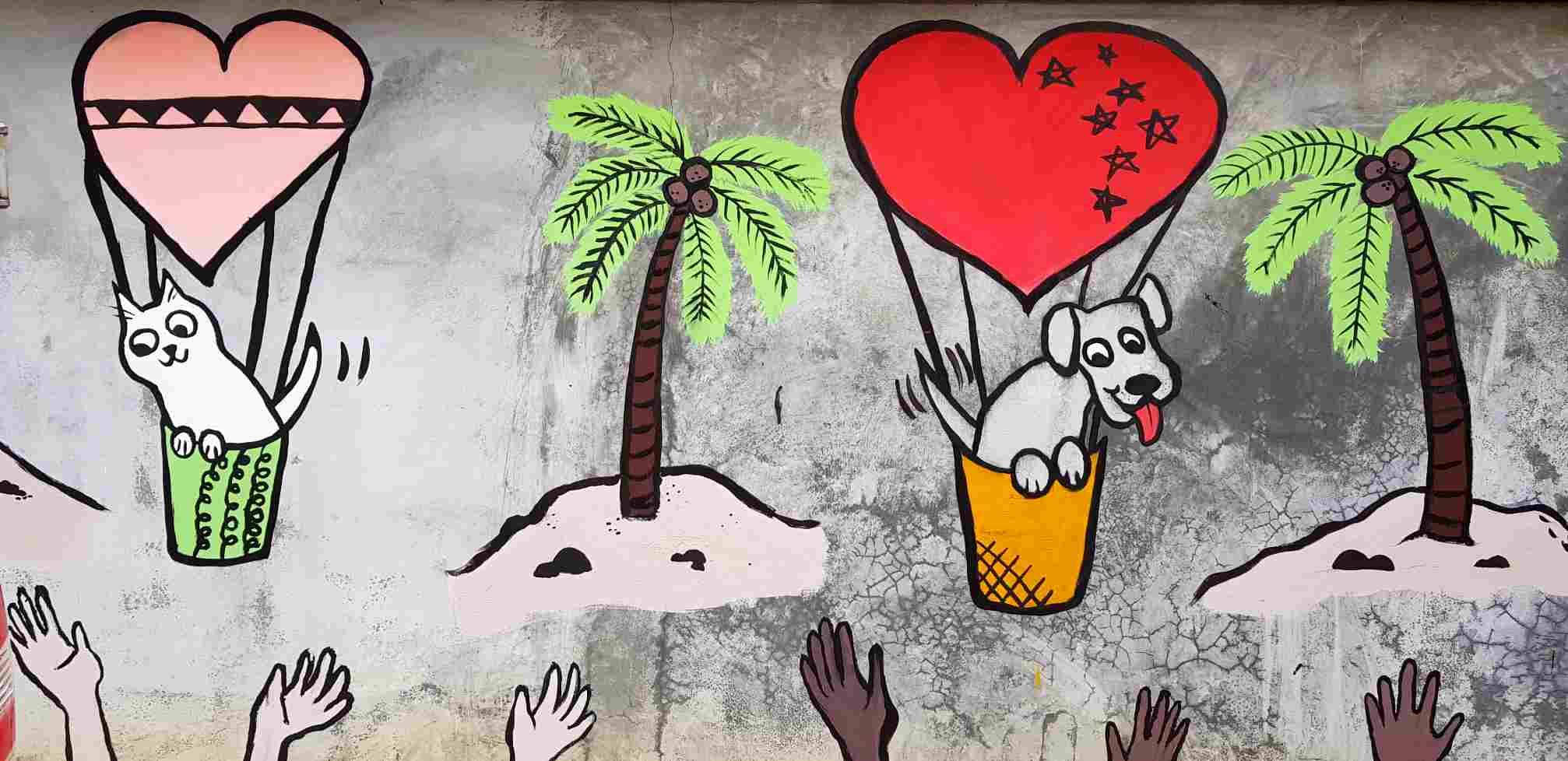 Lanta Animal Welfare, kleurrijke muurschildering van honden en katten