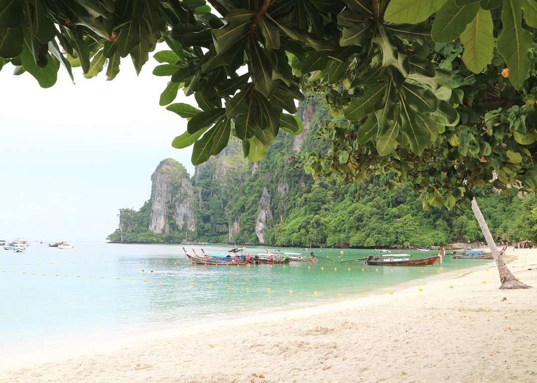 The western part of Ton Sai Beach on koh Phi Phi