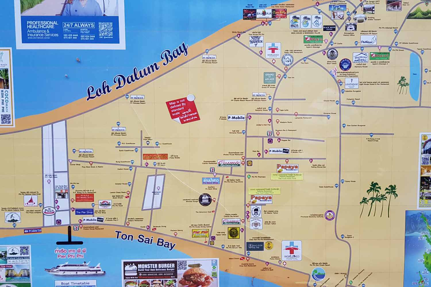 Map of Ton Sai in Koh Phi Phi