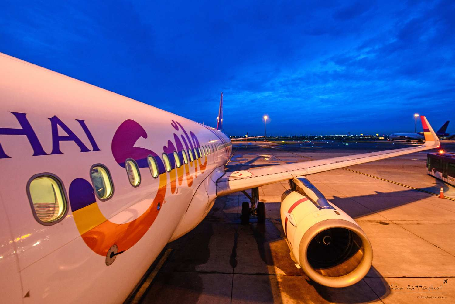 A Thai Smile Airlines plane at the airport