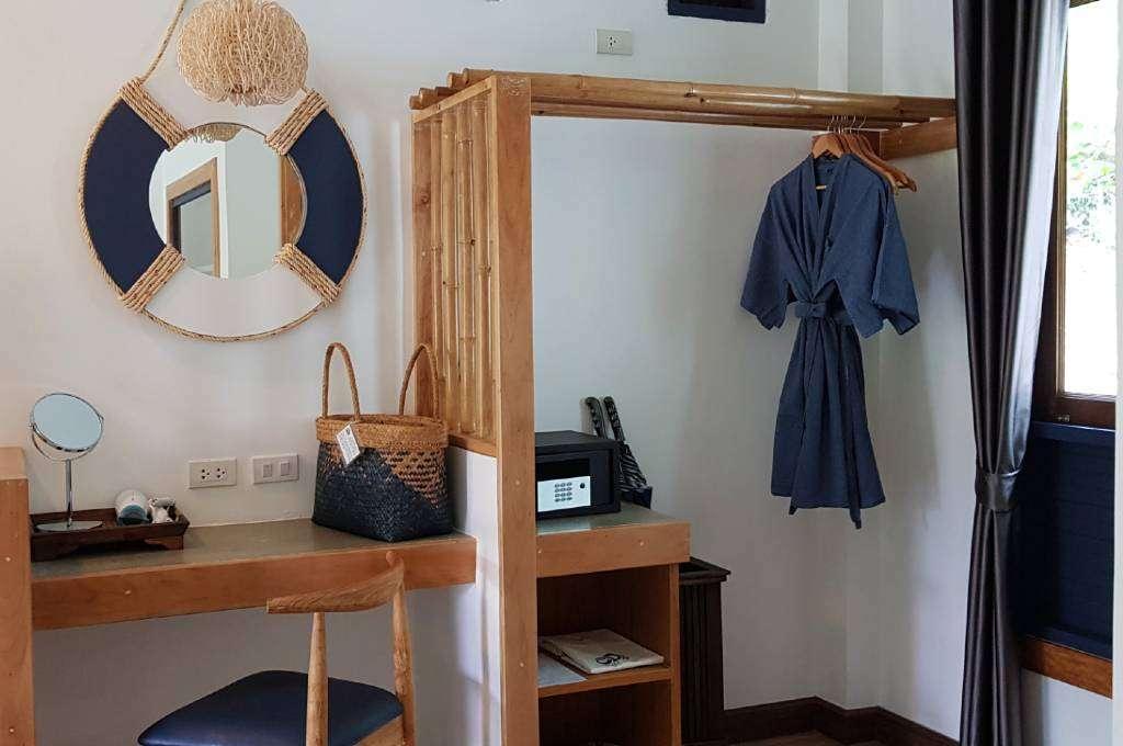Deluxe Villa desk, safe and bathrobes of the Lanta Casa Blanca resort on Koh Lanta