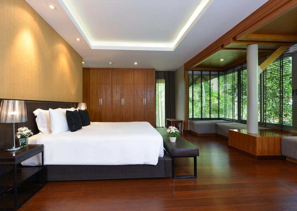 One bedroom of the Layana Resort & Spa on Koh Lanta (one of the best luxury resorts on Koh Lanta)