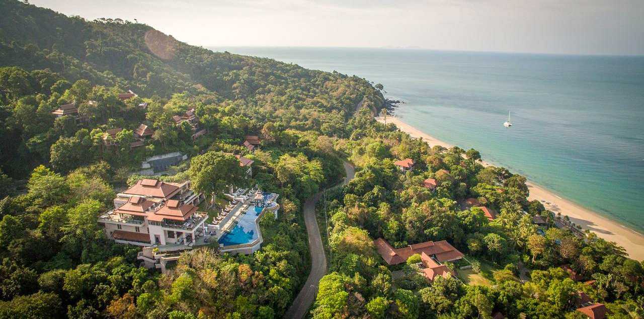 The Pimalai Resort & Spa seen from the air (one of the best luxury resorts on Koh Lanta)