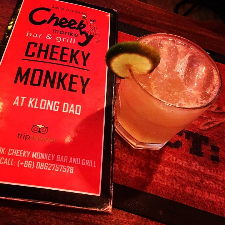 Cheeky Monkey menu and cocktail