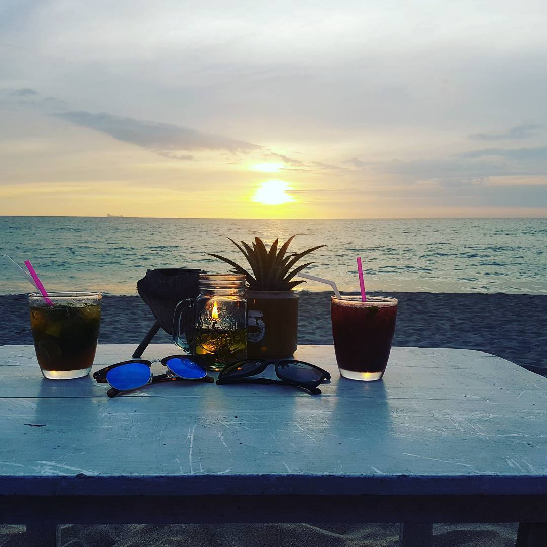 Sunset with cocktails from Majestic beach bar on Koh Lanta
