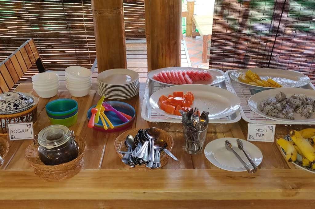 Fresh fruit such as melon, bananas and papaya for breakfast at Lanta Casa Blanca on Koh Lanta