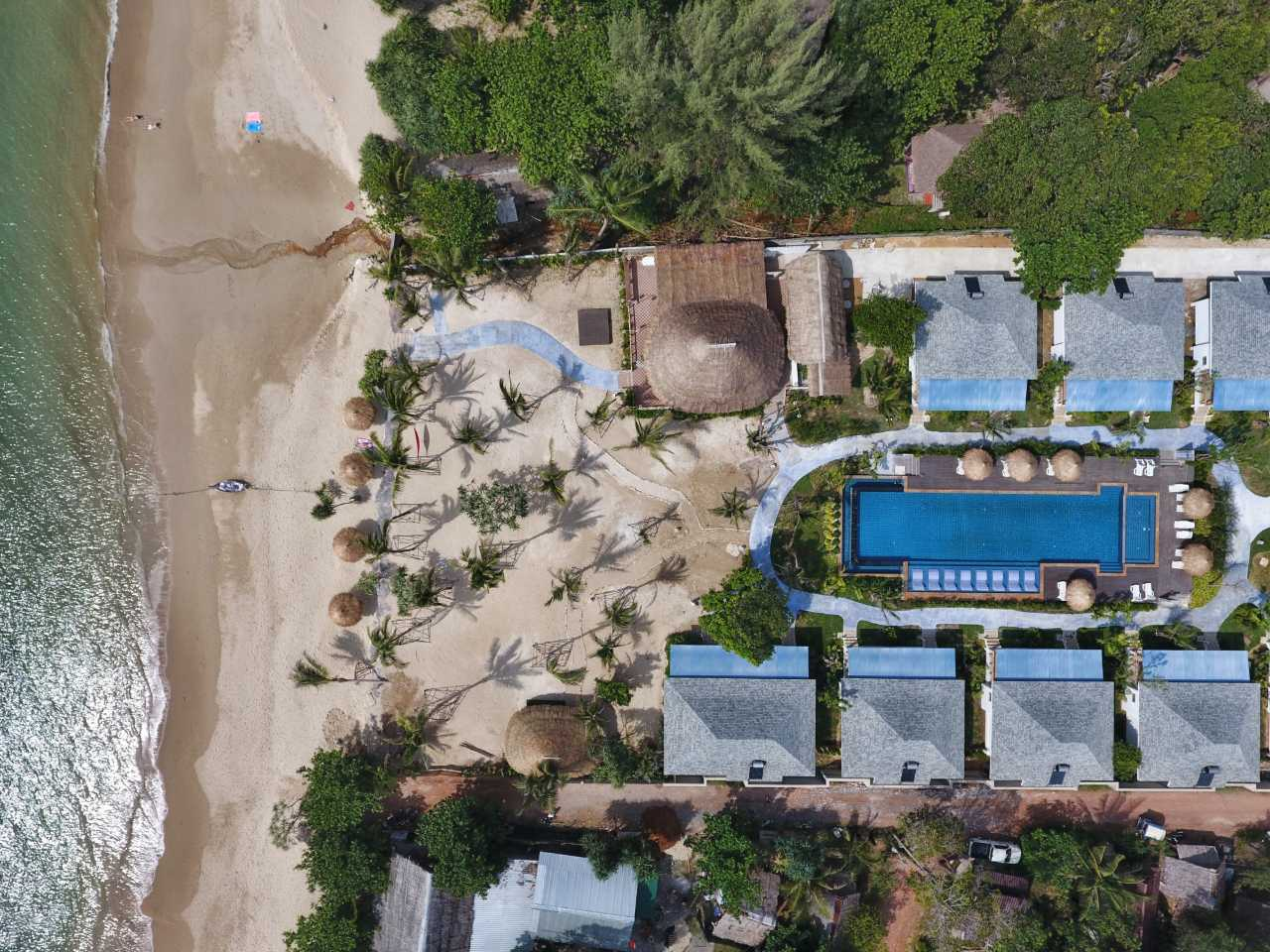Aerial view of the grounds of Lanta Casa Blanca on Koh Lanta, Thailand