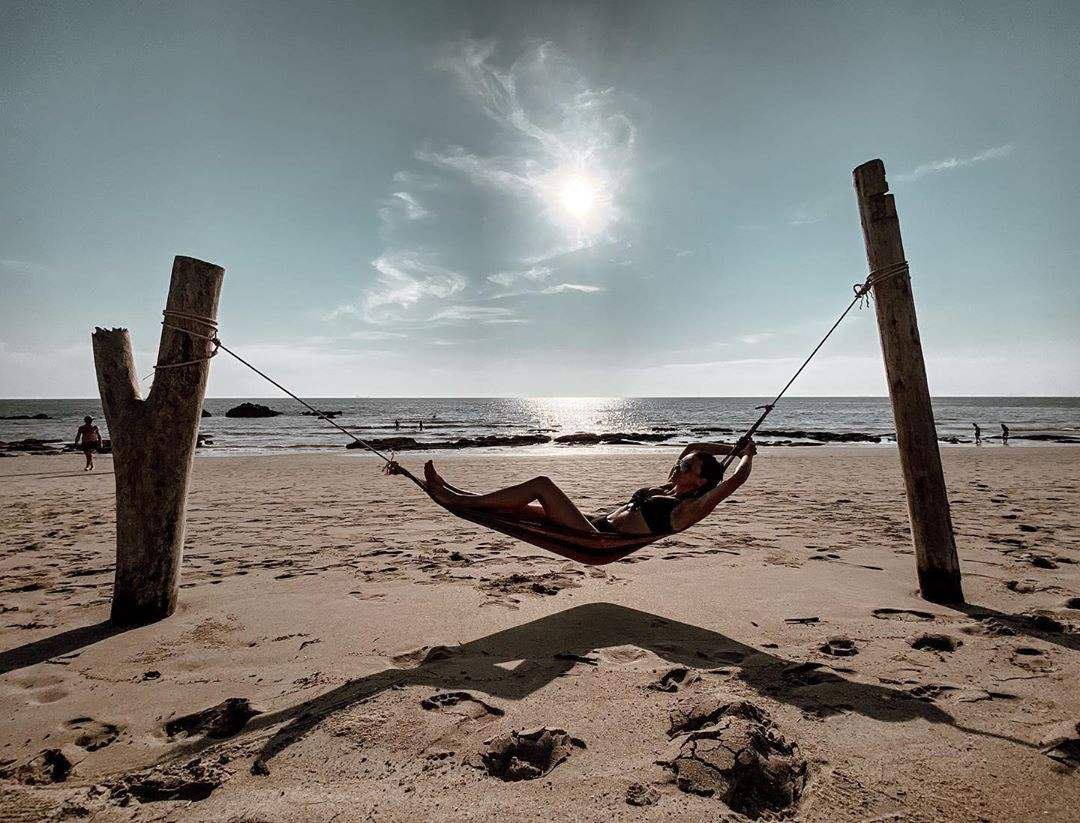 Hanging out in a hammock on a beach in Koh Lanta