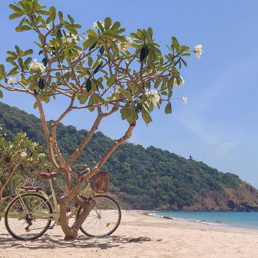 Fiets tegen een boompje op het strand op Koh Lanta