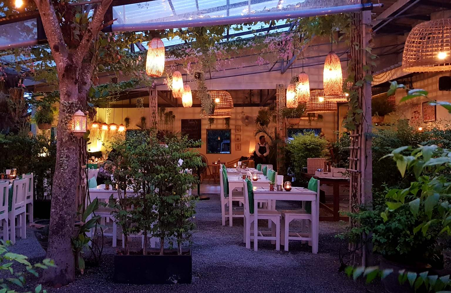 The garden and restaurant of Yang Garden on Koh Lanta, one of the best restaurants on koh lanta!