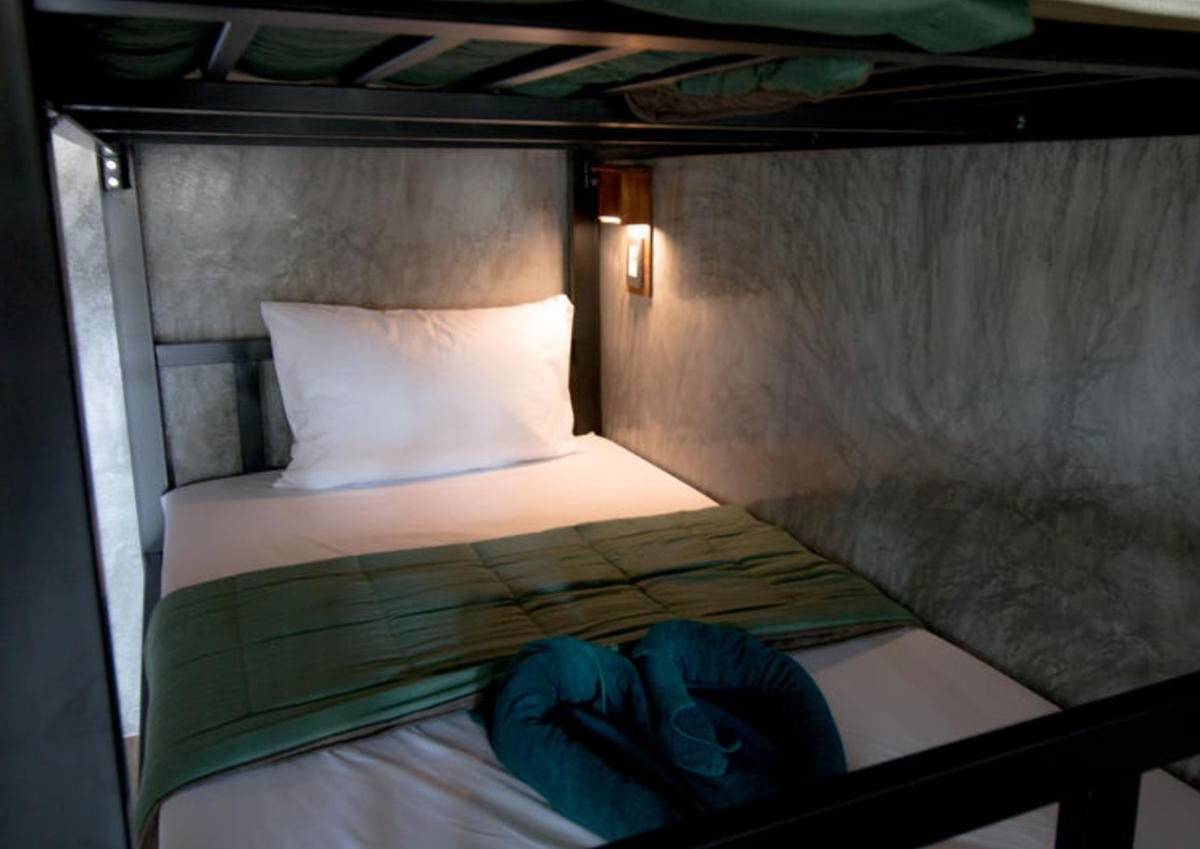 Bunk bed from Blanco Hostel at Lanta, one of the best cheap places to sleep on Koh Lanta