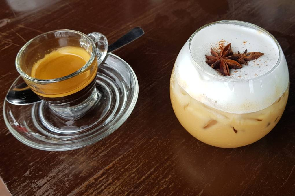 Hot and cold coffee at Rareview Coffee & Restaurant in Old Town, one of the best restaurants on koh lanta!