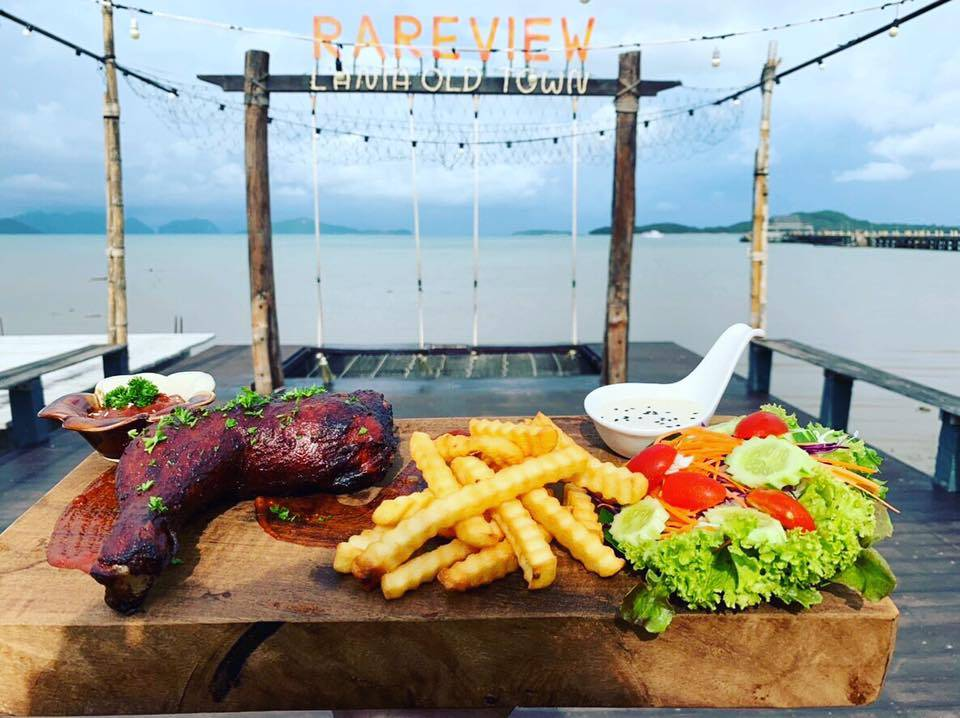 Grilled chicken with fries and salad at Rareview Restaurant in Old Town, one of the best restaurants on koh lanta!