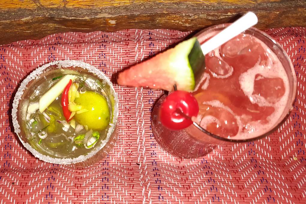 Drinking cocktails (Tom Yum Margarita) at The Reggae Bar on Koh Lanta, one of the best restaurants on koh lanta!