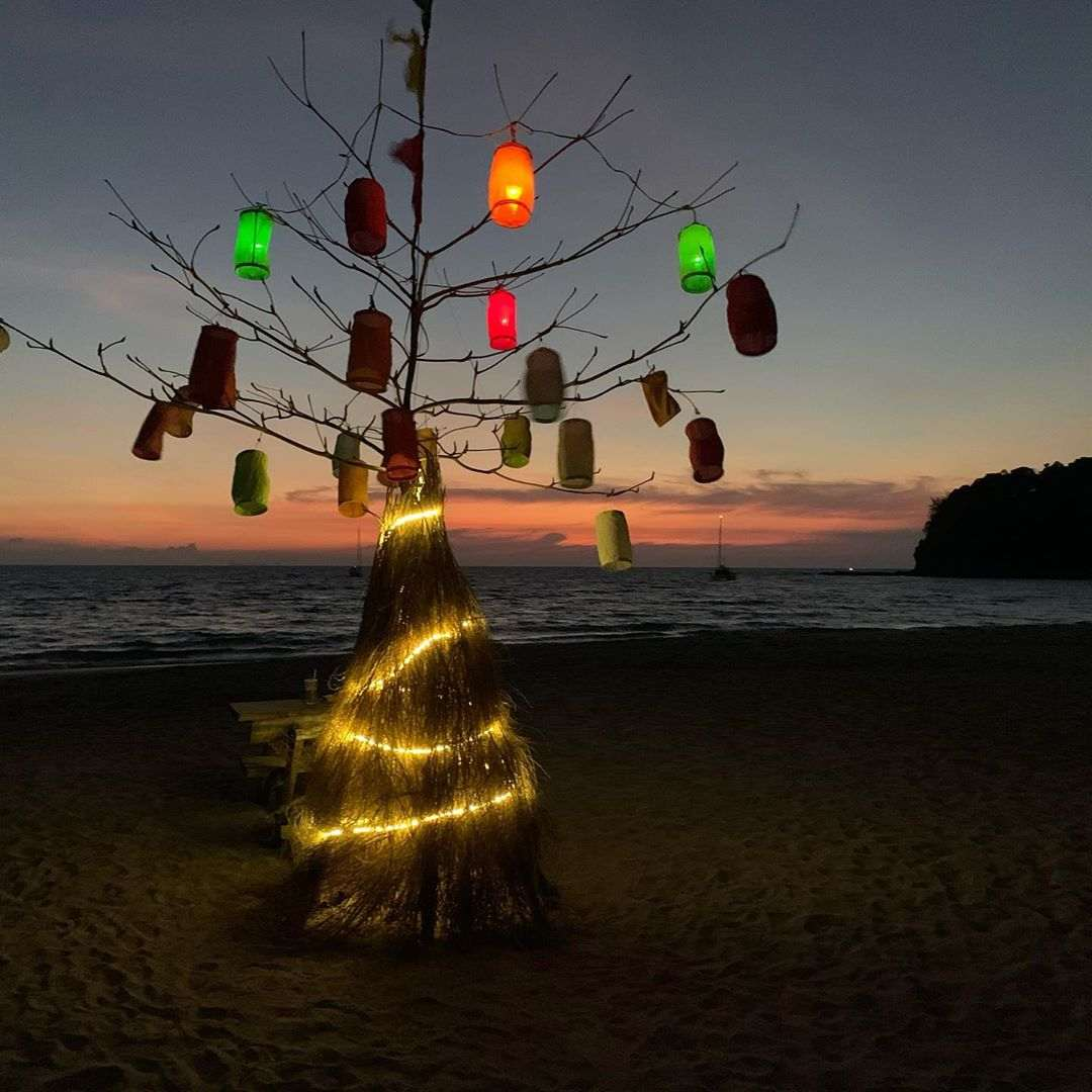 Nice decorated tree with lights in it on a beach koh lanta