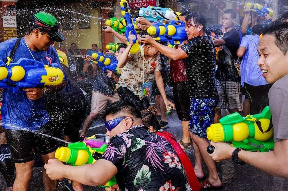 Mega water fight during Songkran on 13 April in Thailand